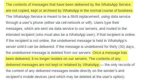 Taken from Whatsapp.com/Legal/